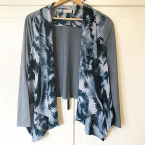 LOGO Lori Goldstein Open Cardigan Velvet Tie Dye